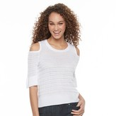 Apt. 9 Women's Metallic Cold-Shoulder Crewneck Sweater