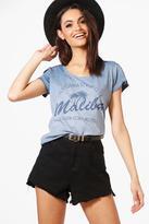 boohoo Zoe Malibu Slogan T-Shirt