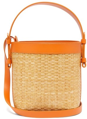 Nico Giani Adenia Large Straw And Leather Bucket Bag - Orange Multi