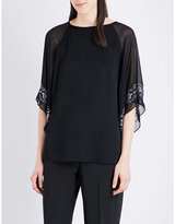 St. John Luxe embellished satin and chiffon top