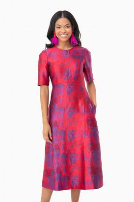 Tuckernuck Raspberry Jacquard Baldwin Dress