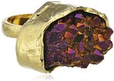 Bex Rox 24ct Yellow Gold Plated Dyed Drusy Purple Quartz Mara Ring - Size L