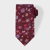 Paul Smith Men's Burgundy Floral Pattern Silk Tie