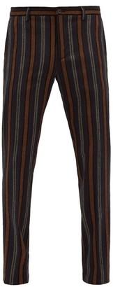 Etro Straight-leg Striped-jacquard Trousers - Brown Multi