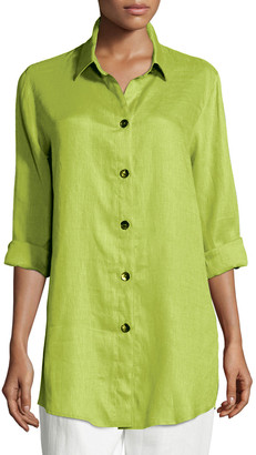 Caroline Rose Petite Tissue Linen Boyfriend Shirt
