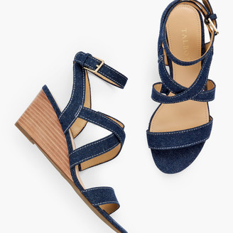 Talbots Royce Strappy Wedges - Denim