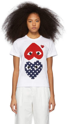 Comme des Garcons White and Red Polka Dot Hearts T-Shirt