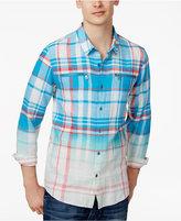GUESS Men's Karter Ombré Plaid Cotton Shirt