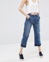 Abercrombie & Fitch Cropped Wideleg Jean With Released Hem