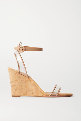 Aquazzura Minimalist 85 Leather And Pvc Wedge Sandals - Neutral