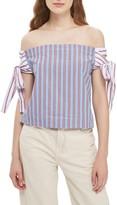 Topshop Women's Stripe Tie Off-The-Shoulder Top
