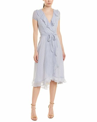 Gabby Skye Women's Short Sleeve V-Neck Stripe Ruffled A-Line Dress