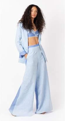 Miguelina Pamela Flared Linen Pant Two-Toned