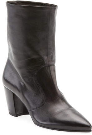 Prada Western Leather Pointed Booties, Nero