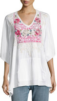 Johnny Was Embroidered Pocket Poncho, White