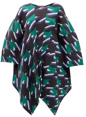 Pleats Please Issey Miyake Shooting Star-print Technical-pleated Tunic - Green Multi
