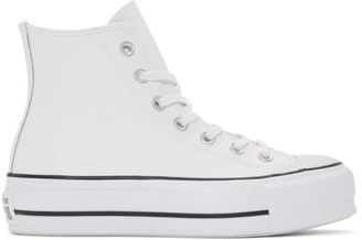 Converse White Leather Chuck Taylor All-Star Lift High Sneakers