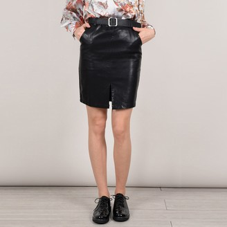Molly Bracken Belted Faux Leather Pencil Skirt with Front Slit