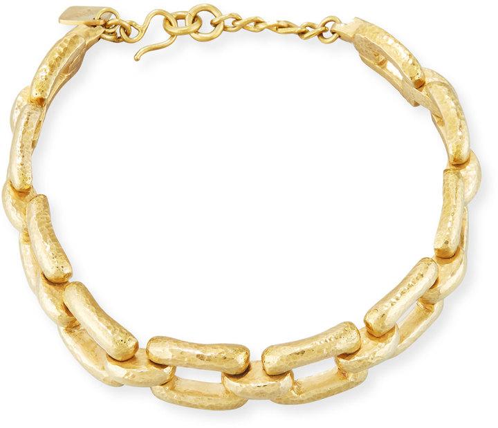 Ashley Pittman Bila Hammered Bronze Link Choker Necklace