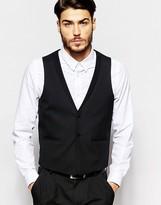 Asos Slim Waistcoat In Textured Fabric