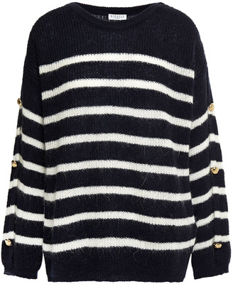 Claudie Pierlot Striped Brushed Knitted Sweater