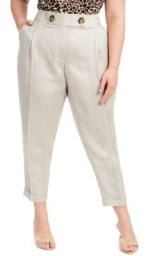 Calvin Klein Plus Size Linen Slim-Ankle Pants