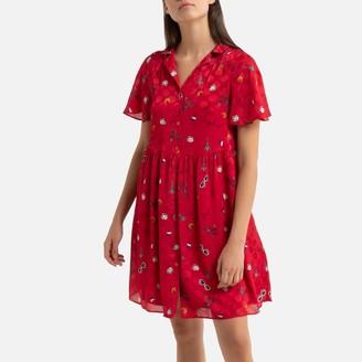 Naf Naf Graphic Print Short Shirt Dress