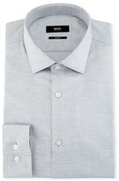 BOSS Mélange Slim-Fit Dress Shirt, Light Gray