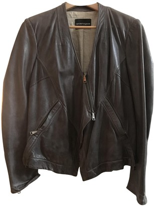 Emporio Armani Khaki Leather Leather Jacket for Women