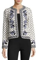Tory Burch Tilda Embroidered Fish-Print Jacket, Ivory