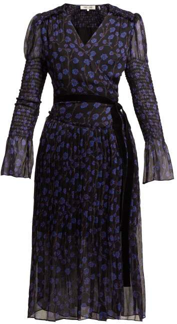 Diane von Furstenberg Ani Ditsy Print Silk Chiffon Wrap Dress - Womens - Blue Print