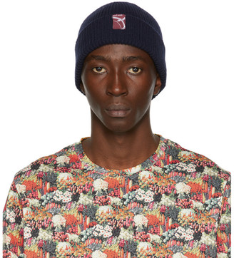Paul Smith 50th Anniversary Navy Cashmere Rib Knit Beanie