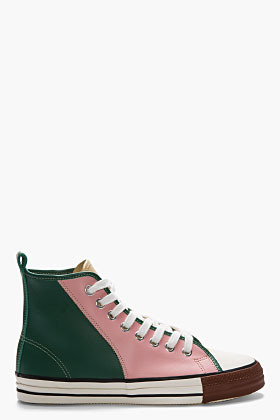 Comme des Garcons Pink Leather Tri-Color High Top Sneakers
