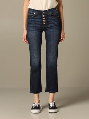 Straight Crop Seven Seven Jeans In Used Denim