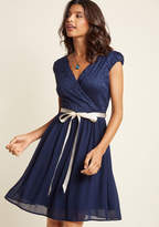 ModCloth Beautifully Bubbly A-Line Dress in Navy in M - Cap Knee Length