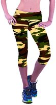 Deercon High Waist Fitness Yoga Sport Pants Women Running Gym Stretch Capri 3/4 Leggings(Camouflage 1) M