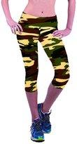 Deercon High Waist Fitness Yoga Sport Pants Women Running Gym Stretch Capri 3/4 Leggings(Camouflage 2) L