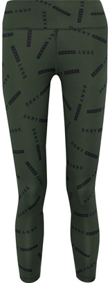 DKNY Cropped Logo-print Stretch Leggings