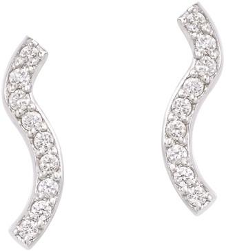 Sabine Getty Women's 18kt White Gold Round White Diamonds Wave Stud Earrings