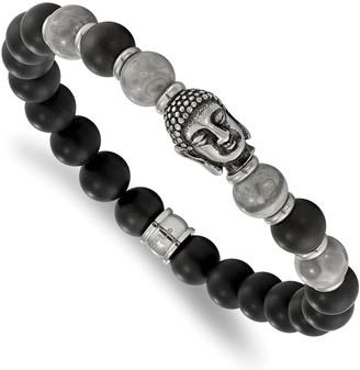 Chisel Stainless Steel Buddha Black Agate and Grey Jasper Beaded Stretch Bracelet