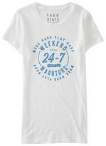 Aeropostale Womens Free State Weekend Warriors Graphic T Shirt White