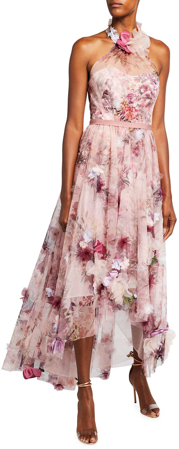 Marchesa Notte High-Low Floral Printed Tulle Halter Dress with 3D Flowers