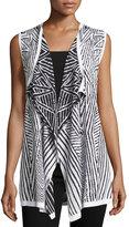 Neiman Marcus Cascading Reversible Geometric-Print Knit Vest