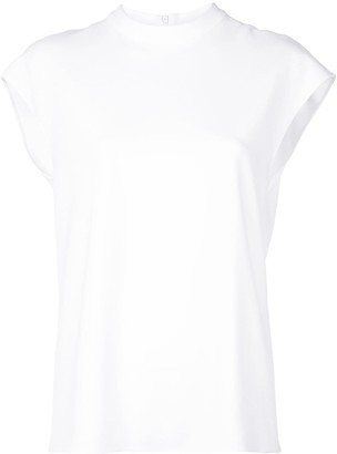 Tibi Mock Neck Sleeveless Blouse