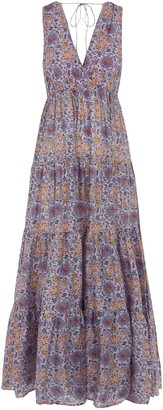 Traffic People Gaia Sleeveless Printed Maxi Dress In Purple