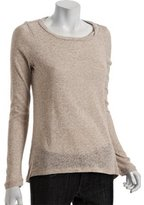 oatmeal cotton burnout crewneck sweater