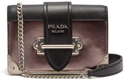 Prada Cahier Mini Leather Cross Body Bag - Womens - Silver