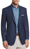 Brioni Plaid Two-Button Sport Jacket, Blue