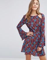 Boohoo Floral Cold Shoulder Swing Mini Dress