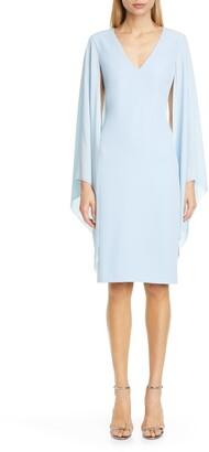 Badgley Mischka Collection Chiffon Cape Sleeve Cocktail Dress